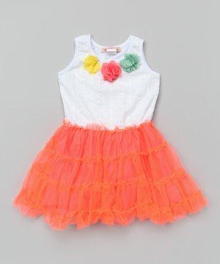 White & Coral Flower Pettidress - Toddler & Girls