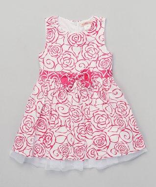 Off-White & Blue Eyelet Lace Layered Dress - Toddler & Girls
