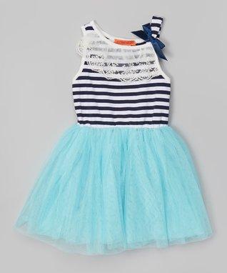 Blue Stripe Lace Tutu Dress - Toddler & Girls