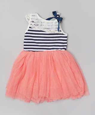 Pink Stripe Lace Tutu Dress - Toddler & Girls