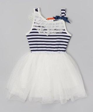 White Stripe Lace Tutu Dress - Toddler & Girls
