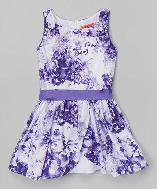 Purple Floral Drop-Waist Dress - Toddler & Girls