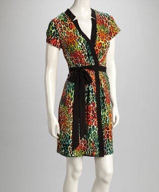 Shelby & Palmer Blue & Orange Leopard Tie-Waist Dress