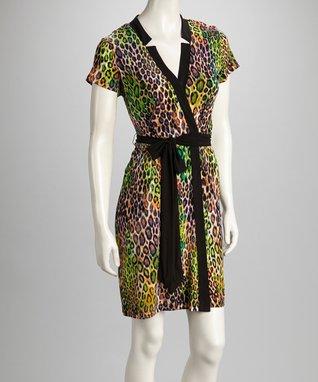 Shelby & Palmer Green & Purple Leopard Tie-Waist Dress
